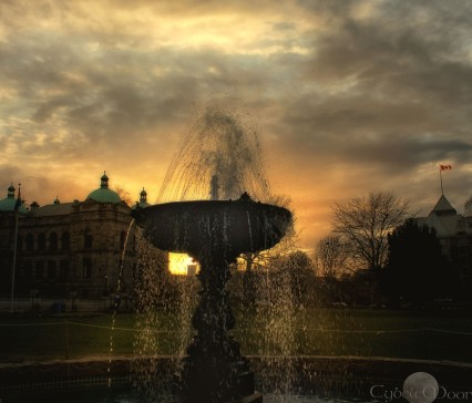 showering fountain at Parliament