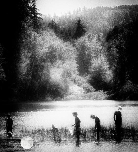 children at the lake