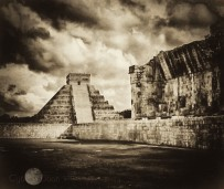 the great pyramid at Chichen Itza seen from the ballcourts