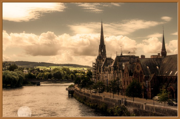 Perth on the River Tay framed