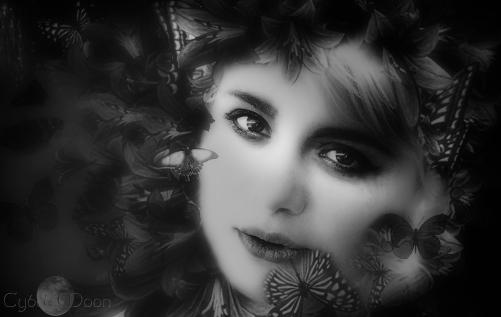 butterfly girl monochrome vignettesoftsmall